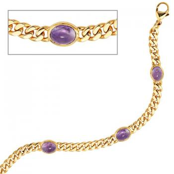 19 cm langes Armband aus 585 Gelbgold mit 4 Amethyst Chabochons