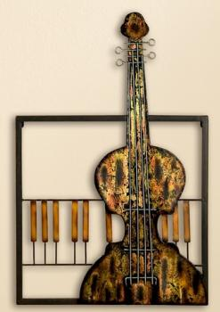 GILDE Wanddeko Wandrelief Cello aus Metall, 40 x 53 cm