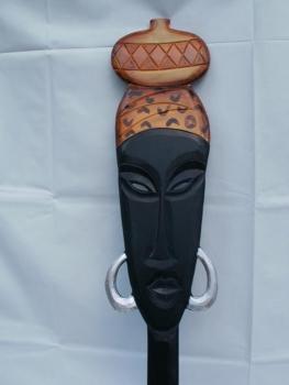 afrikanische frau wanddeko aus holz 80 cm g nstig bei. Black Bedroom Furniture Sets. Home Design Ideas