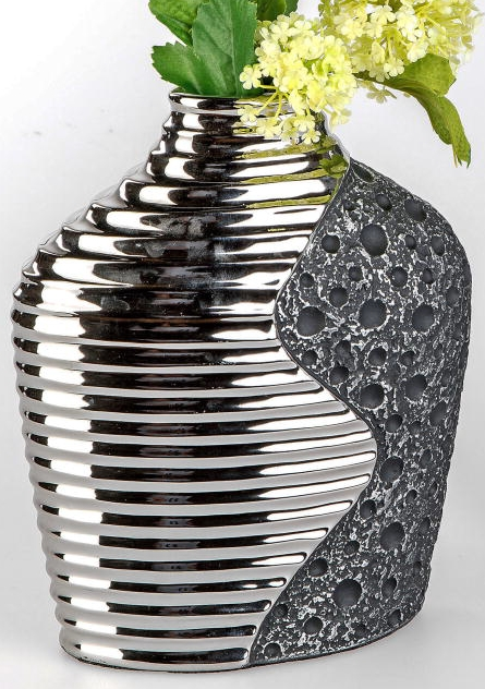 vase stone silber keramik 25 cm g nstig bei dekodor. Black Bedroom Furniture Sets. Home Design Ideas