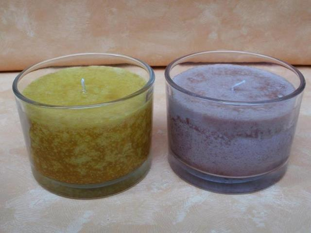 Kerze im glas braun gelb rot lila g nstig bei dekodor for Kerze glas