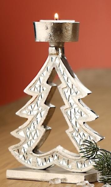 Gilde kerzenhalter tannenbaum aus aluminium mit for Tannenbaum kerzenhalter