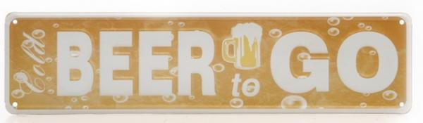 DIO Wandbild aus Metall Cold BEER to GO, 10 x 40 cm
