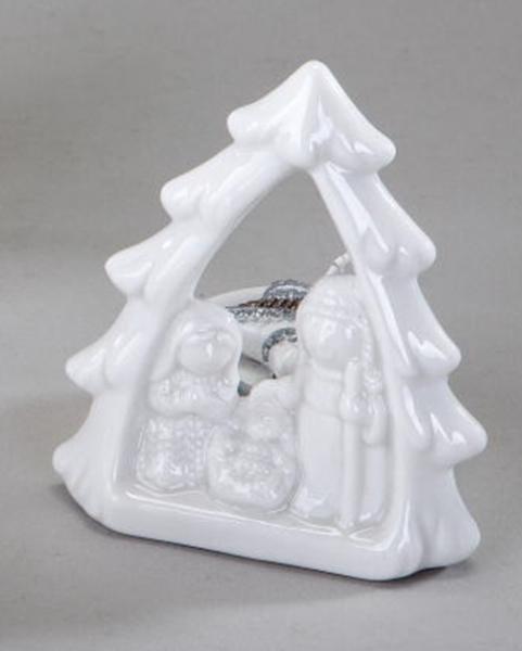 formano Teelichtleuchter Krippe aus Porzellan, weiß, 10 cm