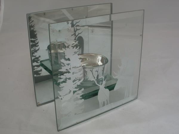 teelichthalter winter aus glas ebay. Black Bedroom Furniture Sets. Home Design Ideas