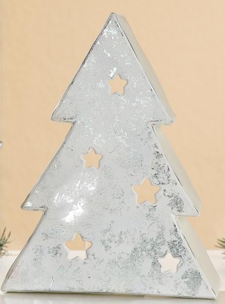 teelichthalter tannenbaum aus metall creme wei silber. Black Bedroom Furniture Sets. Home Design Ideas