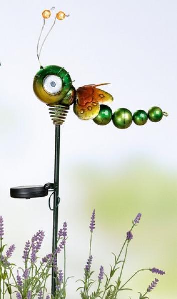 Solar libelle aus metall mit gartenstab led g nstig bei for Gartendeko solar figuren